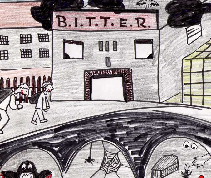 The B.I.T.T.E.R. school as imagined by my blogger friend Tutti.  She has been my unofficial artist. (By unofficial, I mean unpaid.) Check out her whole post athttp://tuttisworld.wordpress.com/2013/04/08/a-new-school/