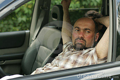 An actor paid to look like me while relaxing in my car on the way home.