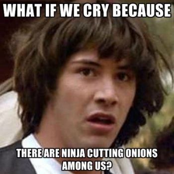 The onion ninjas hiding beneath our pepperoni's.