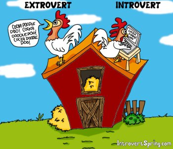 The battle of introverts vs. extroverts is a face off.  Actually it is a face other ways.