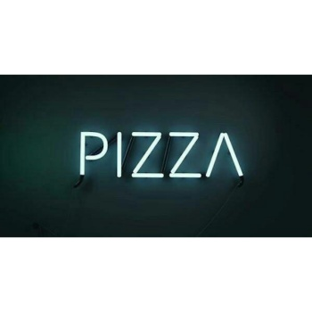 An Instagram photo of my love for pizza displayed in lights.